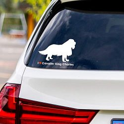 I Love Cavalier King Charles White Vinyl Car Sticker Decal