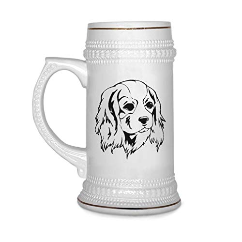 Custom Beer Mug Cavalier King Charles Spaniel Head Black Ceramic Drinking Glasses Beer Gifts White 18 OZ Design Only