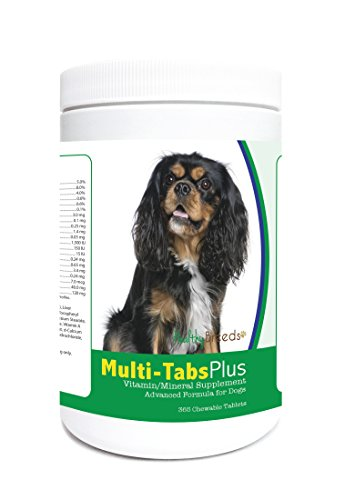 Healthy Breeds Dog Multi Tablet and Mineral Supplement Chewable Tabs for Cavalier King Charles Spaniel – Over 80 Breeds – 180, 365 Chews – Formula for Young or Senior Pets – Easier Than Liquid, Powder