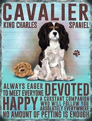 XCVBN CWSY Tin Metal Sign Cavalier King Charles Spaniel Home Decoration Thanksgiving Christmas Wall Art Stickers 8×12 inches