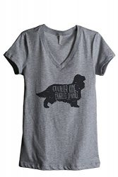 Thread Tank Cavalier King Charles Spaniel Dog Silhouette Women's Relaxed V-Neck T-Shirt Tee Heather Grey Medium