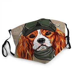 Mouth Cover Face Mask Hipster Red Dog Cavalier King Charles Spaniel Breed in Cap and Cravat Khakis Glasses