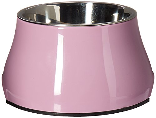 Dogit Elevated Dog Bowl, Stainless Steel Food and Water Dish for Small Dogs, Small, Pink