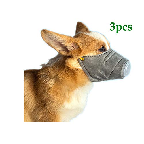 Pikolai Dog Soft Face Cotton Mouth Mask 3PCS, Pet Respiratory PM2.5 Breathable Soft Dog Muzzle with Air Mesh for Small Medium Large Dog (S)