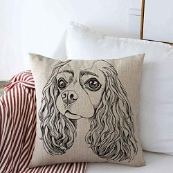 Staroden Throw Pillows Cover 16 x 16 Inches Adorable Cavalier King Charles Graphic Spaniel Dog Animals Pet Wildlife Beautiful Black Breed Canine Cushion Case Cotton Linen for Fall Home Decor