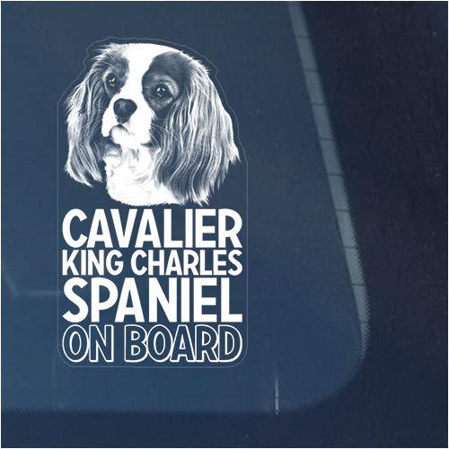 Cavalier King Charles Spaniel Clear Vinyl Decal Sticker for Window, Dog Sign Art Print Design